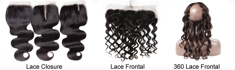 What are the different between lace closure, lace frontal and 360 lace frontal?